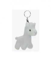 Pluche alpaca sleutelhanger wit 12 cm