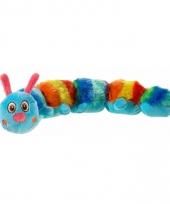 Pluche blauwe regenboog duizendpoot knuffel 35 cm