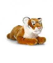 Pluche bruine liggende tijger 46cm
