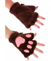 Pluche dierenpoot handschoenen donkerbruin