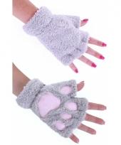 Pluche dierenpoot handschoenen grijs
