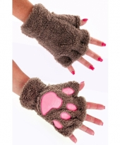 Pluche dierenpoot handschoenen lichtbruin
