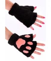 Pluche dierenpoot handschoenen zwart