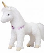 Pluche eenhoorn paarden knuffel wit goud 30 cm