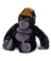 Pluche gorilla aap knuffel zwart zittend 45cm