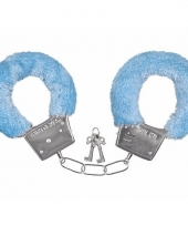 Pluche handboeien blauw voor volwassenen