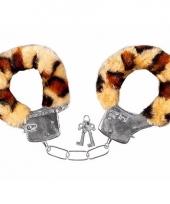 Pluche handboeien luipaard voor volwassenen