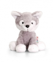 Pluche husky honden knuffel zittend 14cm