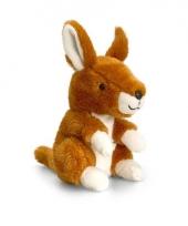 Pluche kangoeroe knuffel zittend 14cm
