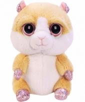 Pluche knuffel hamster zittend 15 cm