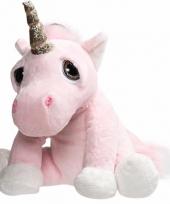 Pluche knuffel roze eenhoorn met glitter hoorn 29 cm