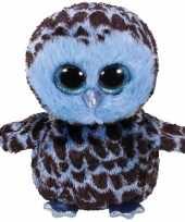 Pluche knuffel uil blauw 15 cm
