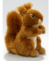 Pluche knuffeldier eekhoorn zittend liggend 17cm