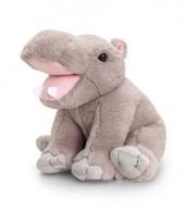 Pluche nijlpaard knuffel grijs zittend 25cm