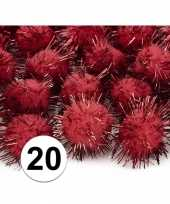 Pluche pompoms rood 20 mm