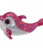 Pluche roze ty beanie dolfijnen 24 cm