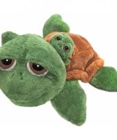 Pluche schildpad met baby op de rug