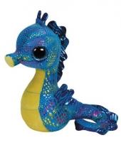 Pluche ty beanie zeepaardje blauw 15 cm