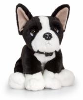 Pluche zittende hond boston terrier 35cm