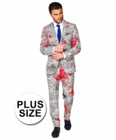 Plus size business suit met bloedhanden print