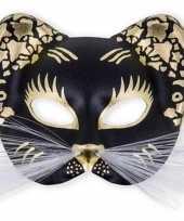 Poezen masker zwart met goud