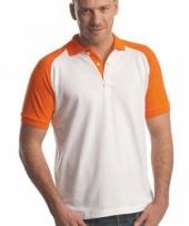 Poloshirt in 2 kleuren wit oranje