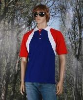 Poloshirt rood wit blauw heren