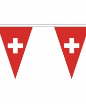 Polyester slinger met switzerland vlaggetjes