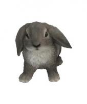 Polystone tuinbeeld grijze hangoor konijn 15 cm