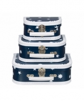 Poppen koffertje donkerblauw ster 16 cm