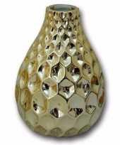 Porseleinen vaas goud honingraat 15 cm