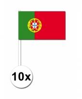 Portugal zwaai vlaggetjes 10 stuks
