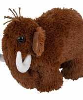 Prehistorische dieren knuffels mammoet bruin 26 cm