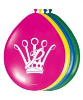 Prinsessia feestje ballonnen gekleurd 8 stuks