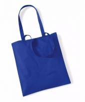 Promotie tasje kobaltblauw katoen 42 x 38 cm