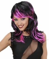 Punk pruik dames zwart met roze