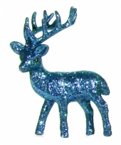 Raamdecoratie rendier blauw 10 cm