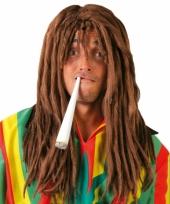 Rasta hippie pruik bruin voor heren