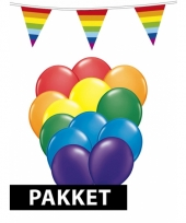 Regenboog versiering pakket groot