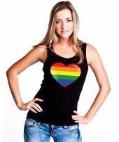 Regenboog vlag in hart singlet zwart dames