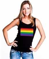 Regenboog vlag singlet zwart dames