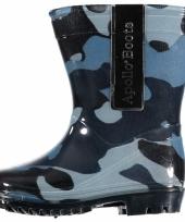 Regenlaarsjes met blauwe army print voor peuters