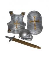Ridder verkleed accessoires set zilver 4 delig