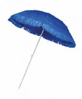 Rieten strand parasol blauw