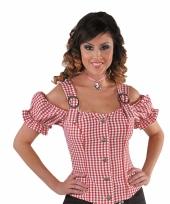 Rode cowboy dames blouse zonder mauwen