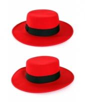 Rode hoed met brede rand