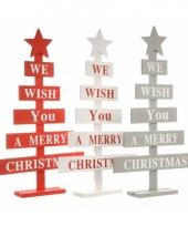Rode kerstboom raamdecoratie merry christmas 51 cm