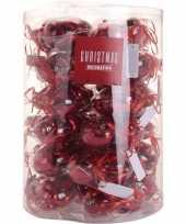 Rode kerstversiering hartjes kerstballen 10 stuks