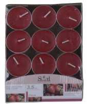 Rode theelicht kaarsjes met aardbeigeur 24 stuks