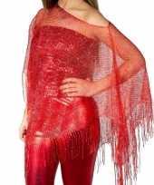 Rode visnet poncho omslagdoek stola dames